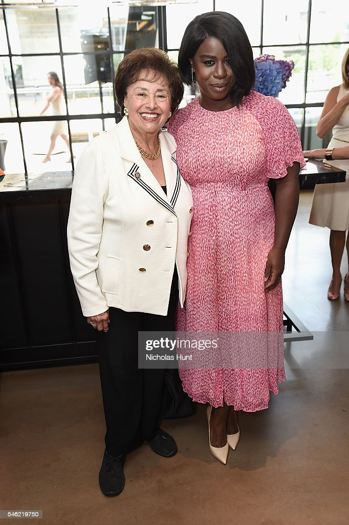 Congresswoman Nita Lowey and actress Uzo Aduba attend a luncheon hosted by Glamour and Facebook to discuss the 2016 election at Samsung 837 in NYC on...