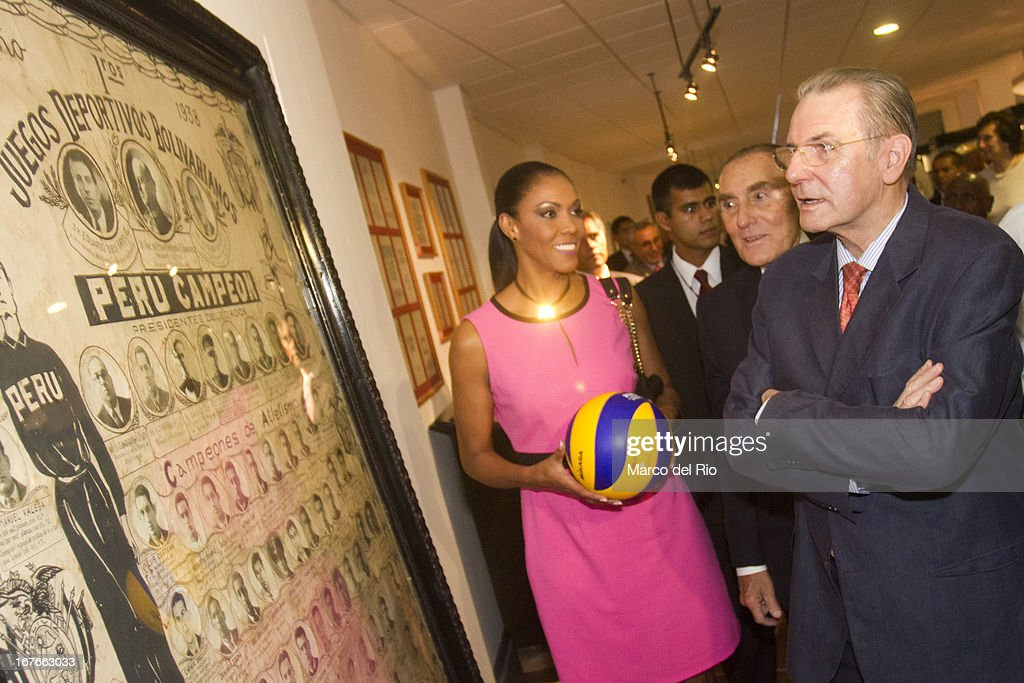 Congresswoman of Peru, Cenaida Uribe and <a gi-track='captionPersonalityLinkClicked' href=/galleries/search?phrase=Jacques+Rogge&family=editorial&specificpeople=206143 ng-click='$event.stopPropagation()'>Jacques Rogge</a> President of OIC during the Opening Ceremony of the Olympic Museum at the National Stadium of Lima as part of the third day of the 15th IOC World Conference Sports For All on April 26, 2013 in Lima, Peru.