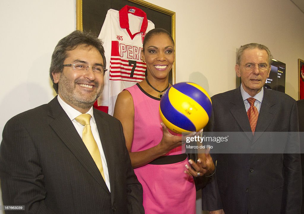 Congresswoman of Peru, Cenaida Uribe, <a gi-track='captionPersonalityLinkClicked' href=/galleries/search?phrase=Jacques+Rogge&family=editorial&specificpeople=206143 ng-click='$event.stopPropagation()'>Jacques Rogge</a> President of OIC and Juan Jimenez, First Minister of Peru during the Opening Ceremony of the Olympic Museum at the National Stadium of Lima as part of the third day of the 15th IOC World Conference Sports For All on April 26, 2013 in Lima, Peru.