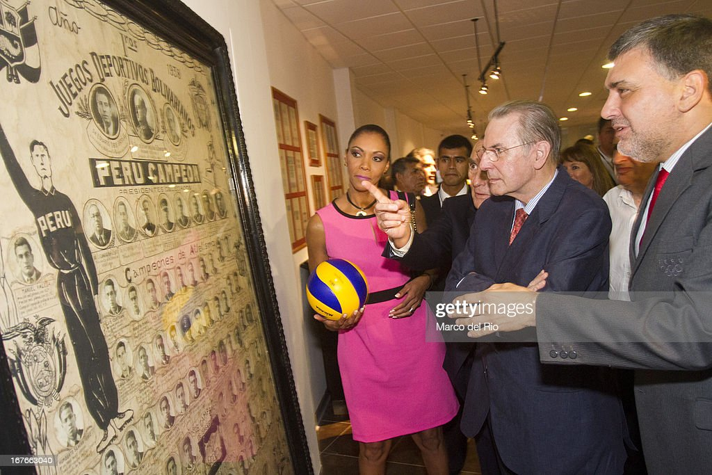 Congresswoman of Peru, Cenaida Uribe, <a gi-track='captionPersonalityLinkClicked' href=/galleries/search?phrase=Jacques+Rogge&family=editorial&specificpeople=206143 ng-click='$event.stopPropagation()'>Jacques Rogge</a> President of OIC and Jose Quinones, President of the Peruvian Olympic Committee during the Opening Ceremony of the Olympic Museum at the National Stadium of Lima as part of the third day of the 15th IOC World Conference Sports For All on April 26, 2013 in Lima, Peru.