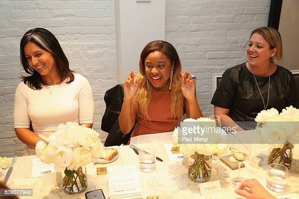 Congresswoman Tulsi Gabbard Phoebe Robinson and Glamour Manager Global Policy Development at Facebook Katie Harbath attend the Facebook brunch to...