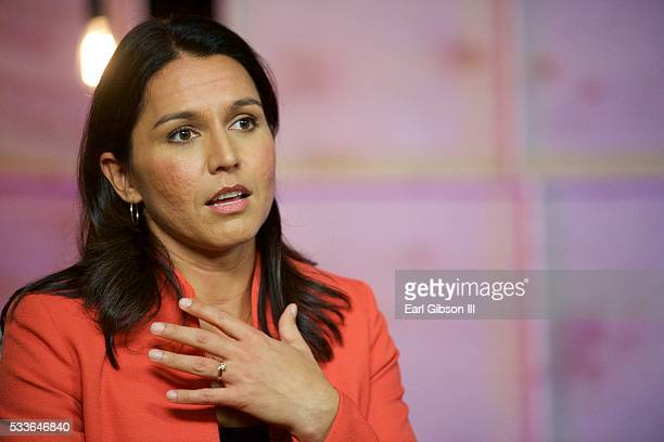 Congresswoman Tulsi Gabbard serves as a guest panelist on Live Stream Of 'My Peoples' Episode 3 at Mack Sennett Studios on May 22 2016 in Los Angeles...