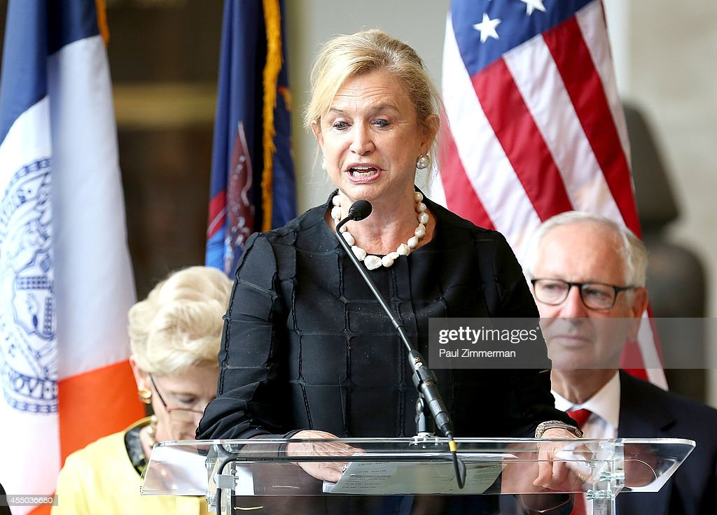 Congresswomen Carolyn Maloney speaks at the unveiling of the David H. Koch Plaza at the Metropolitan Museum of Art on September 9, 2014 in New York City.