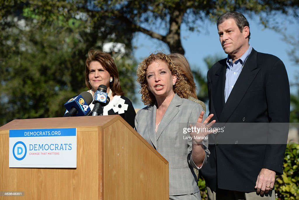 Congresswomen Debbie Wasserman Schultz holds a press conference in anticipation of New Jersey Governor Chris Christie's visit to south florida for fundraise with Florida Governor Rick Scott on January 18, 2014 in Dania, Florida.