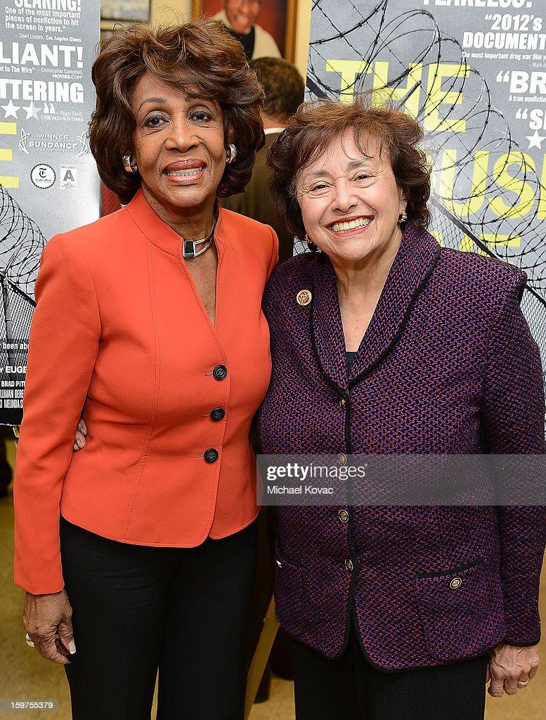Congresswomen Maxine Waters (L) and Nita Lowey attend 'The House I Live In' Washington DC screening at Shiloh Baptist Church on January 19, 2013 in Washington, DC.
