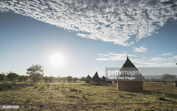 Conic huts in a Himba village