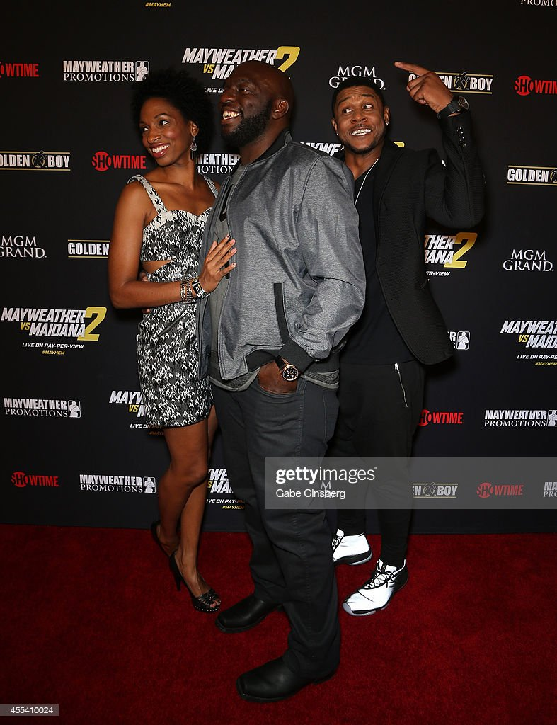 Conisha Dorsey, actors Omar Dorsey and <a gi-track='captionPersonalityLinkClicked' href=/galleries/search?phrase=Pooch+Hall&family=editorial&specificpeople=879951 ng-click='$event.stopPropagation()'>Pooch Hall</a> arrive at Showtime's VIP prefight party for 'Mahem: Mayweather vs. Maidana 2' at the MGM Grand Garden Arena on September 13, 2014 in Las Vegas, Nevada.