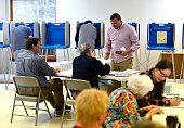 AJ Conklin takes his ballot to vote at the Oakwood Presbyterian Church precinct in State College Pa on Tuesday April 26 2016