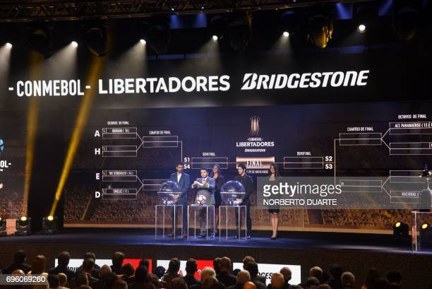 Conmebol Competitions' director Hugo Figueredo takes part in the Libertadores Cup round of 16 draw in Luque Paraguay on June 14 2017 / AFP PHOTO /...