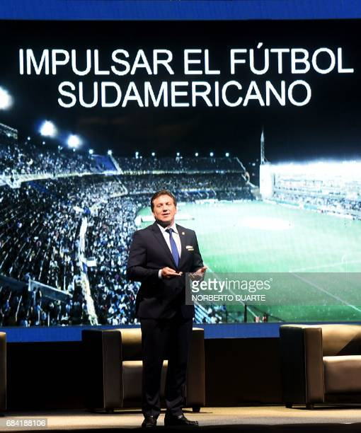 Conmebol president Alejandro Dominguez speaks at the Conmebol headquarters in Luque Paraguay on May 17 2017 to the arrivals to participate in a...