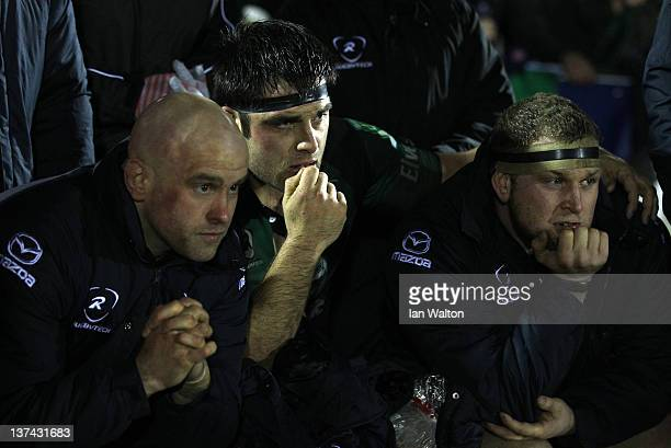 Connacht players watch for the final whistle during Heineken Cup match between Connacht and Harlequins at Sportsground on January 20 2012 in Galway...