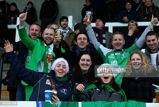 Connacht Rugby fans making some noise during the European Rugby Challenge Cup pool 1 match between Newcastle Falcons and Connacht Rugby on December...