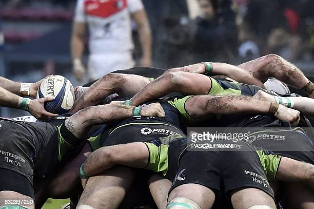 TOPSHOT Connacht Rugby's pack is pictured as a player prepares to feed the ball into a scrum during the European Champions Cup rugby union match...