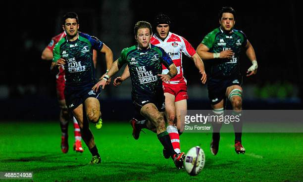 Connacht scrum half Kiernan Marmion gives chase to a loose ball during the European Rugby Challenge Cup Quarter Final match between Gloucester Rugby...