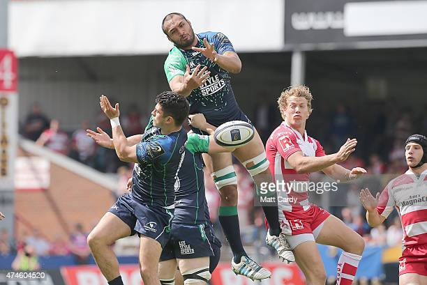 Connacht's George Naoupu reaches for the ball during the Gloucester Rugby v Connacht Rugby European Champions Cup PlayOff at Kingsholm Stadium on May...