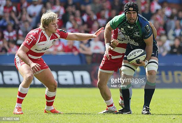 Connacht's John Muldoon looks to pass during the Gloucester Rugby v Connacht Rugby European Champions Cup PlayOff at Kingsholm Stadium on May 24 2015...