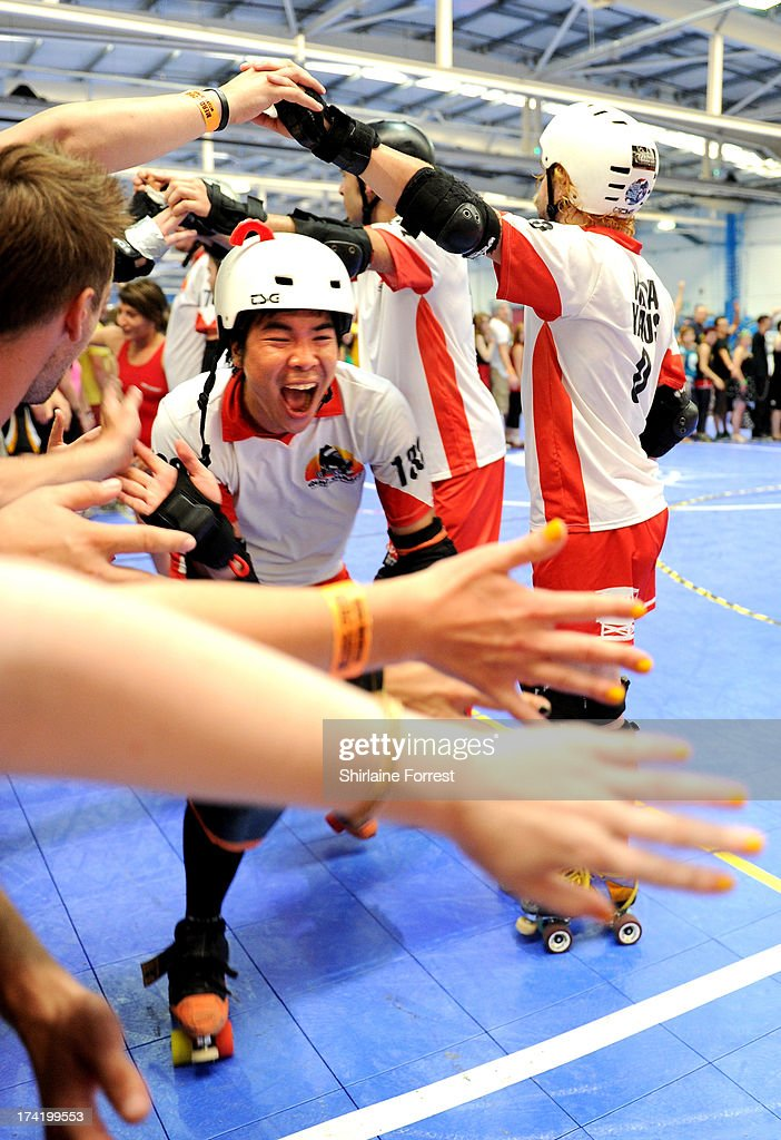 Connard Laque of Quad Gurads celebrates winning the Mens European Roller Derby Championships at Futsal on July 21, 2013 in Birmingham, England.