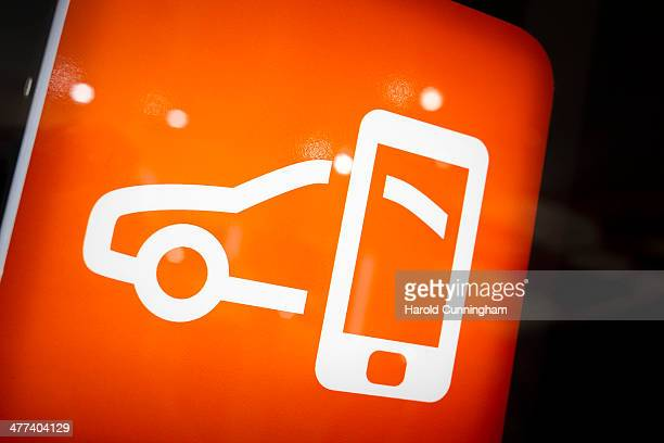 A connected car tile is seen during the press day of the 84th International Motor Show which will showcase novelties of the car industry on March 5...