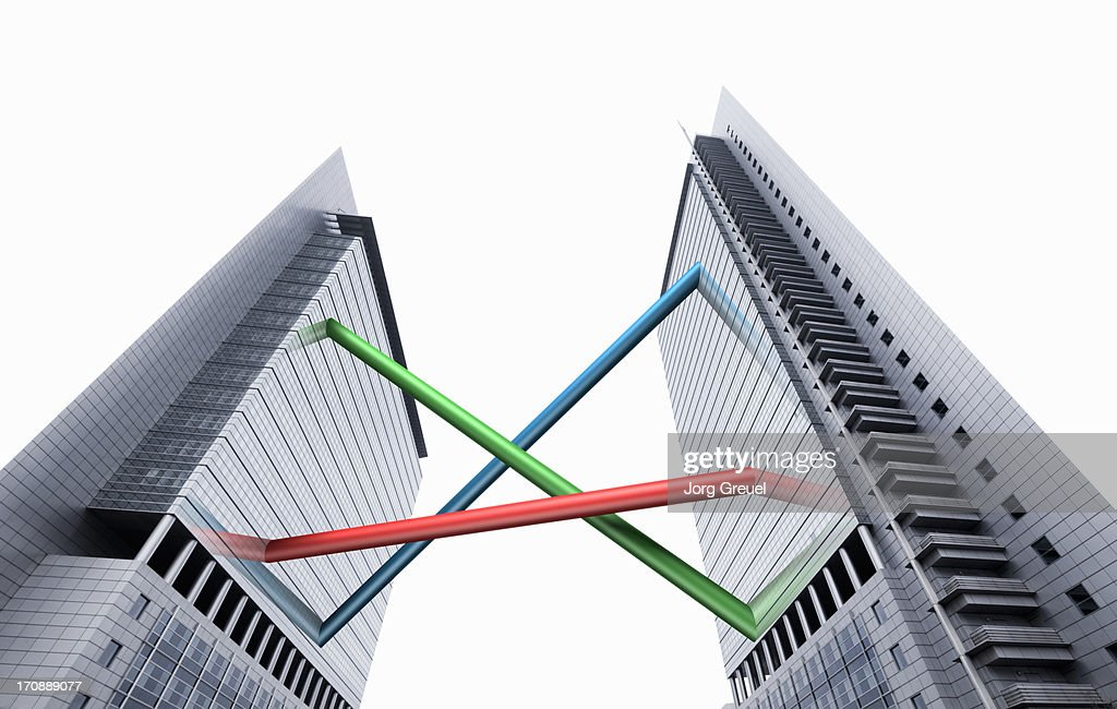Connected high-rise office buildings : Stock Photo