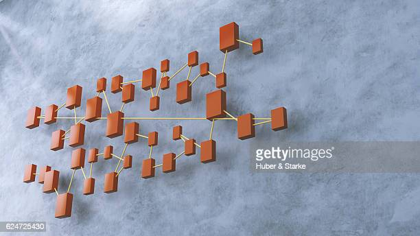 Connected structure of lines and cubes