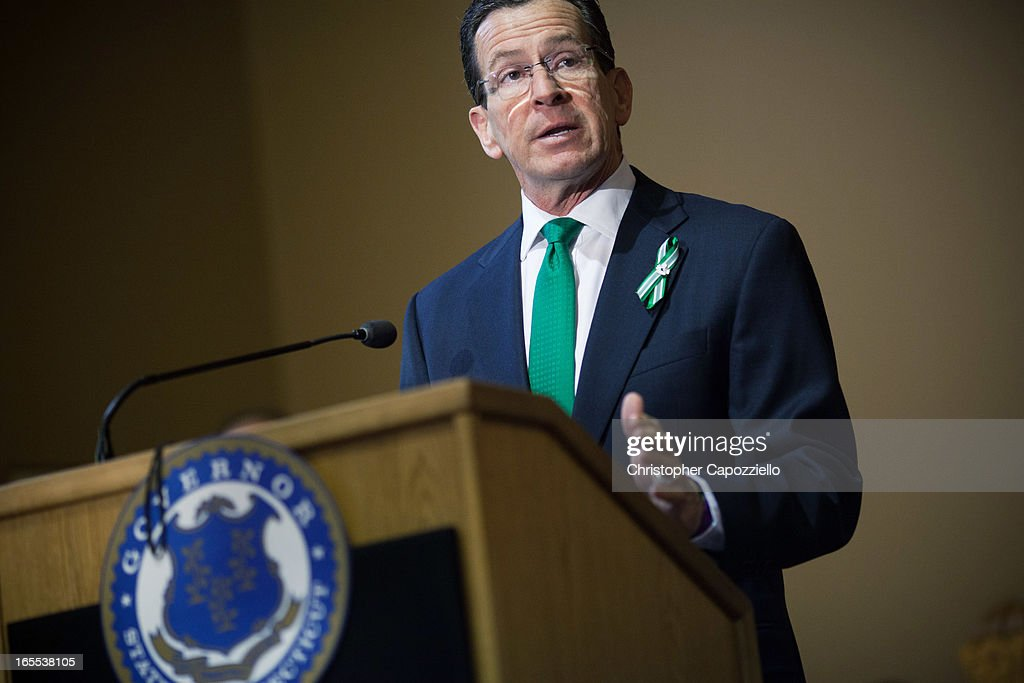 Connecticut Gov. Dannel Malloy speaks during the gun control law signing event at the Connecticut Capitol pril 4, 2013 in Hartford, Connecticut, After more than 13 hours of debate, the Connecticut General Assembly approved the gun-control bill early April 4, that proponents see as the toughest-in-the-nation response to the Demember 14, 2012 Newtown school shootings.