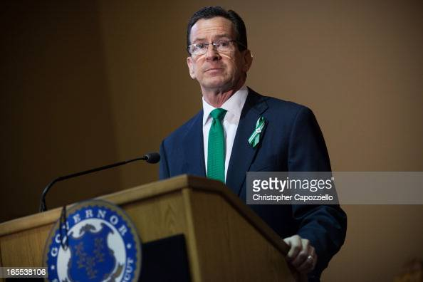 Connecticut Gov Dannel Malloy speaks during the gun control law signing event at the Connecticut Capitol pril 4 2013 in Hartford Connecticut After...