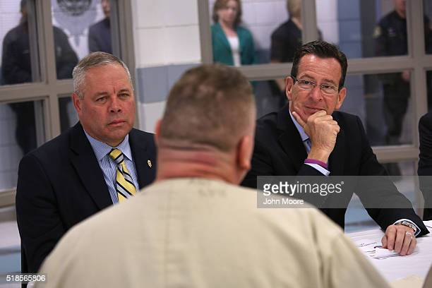Connecticut Governor Dannel Malloy and CT Correction Commissioner Scott Semple meet with prisoners at the new DUI unit of the Cybulski Community...
