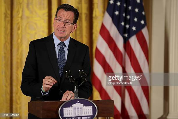 Connecticut Governor Dannel Malloy delivers remarks during the final Joining Forces event in the East Room of the White House November 14 2016 in...
