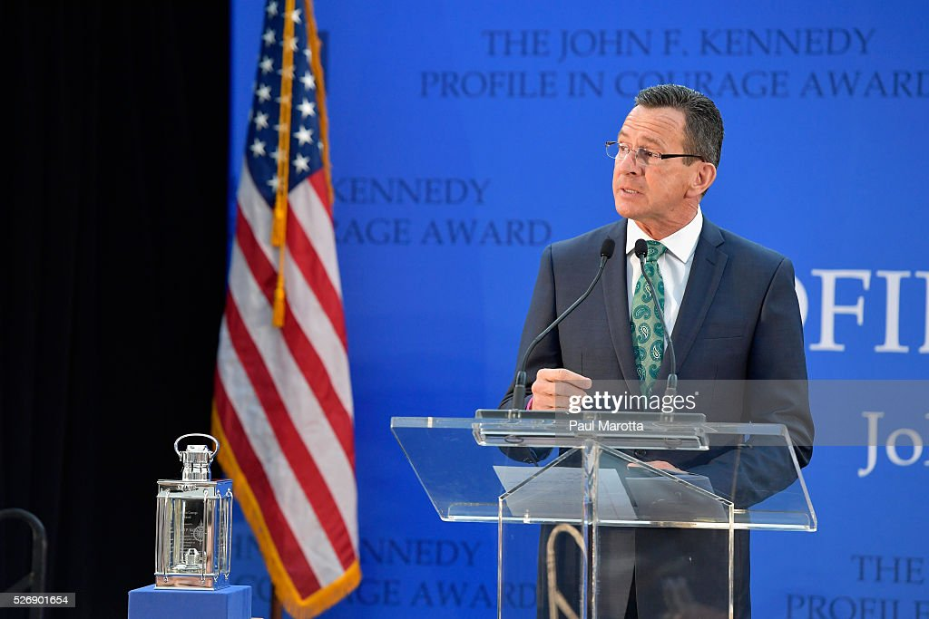 Connecticut Governor <a gi-track='captionPersonalityLinkClicked' href=/galleries/search?phrase=Dannel+Malloy&family=editorial&specificpeople=7234470 ng-click='$event.stopPropagation()'>Dannel Malloy</a> (D) receives the 2016 John F. Kennedy Profile in Courage Award at The John F. Kennedy Presidential Library And Museum on May 1, 2016 in Boston, Massachusetts. In 2015 following the Paris terrorist attacks, Governor Malloy defended the U.S. resettlement of Syrian refugees and and personally welcomed a family of Syrian refugees to New Haven, Ct. after they had been turned away by the state of Indiana.