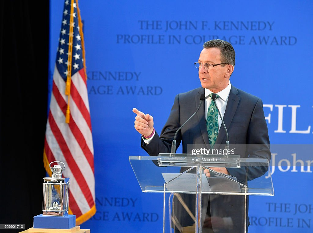Connecticut Governor Dannel Malloy (D) receives the 2016 John F. Kennedy Profile in Courage Award at The John F. Kennedy Presidential Library And Museum on May 1, 2016 in Boston, Massachusetts. In 2015 following the Paris terrorist attacks, Governor Malloy defended the U.S. resettlement of Syrian refugees and and personally welcomed a family of Syrian refugees to New Haven, Ct. after they had been turned away by the state of Indiana.