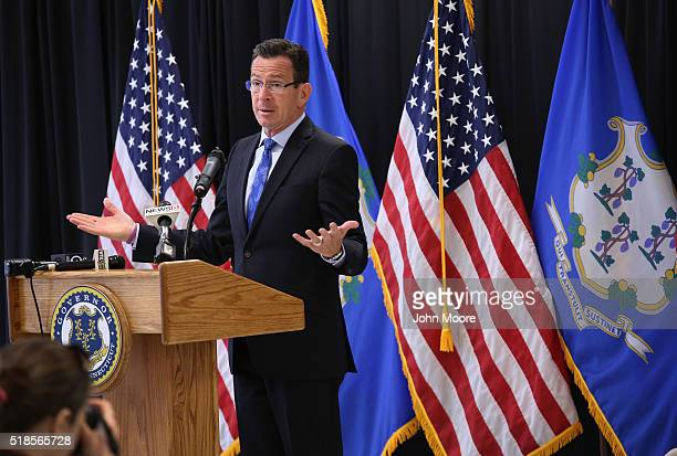 Connecticut Governor Dannel Malloy speaks at the dedication of the new DUI unit of the Cybulski Community Reintegration Center on April 1 2016 in...