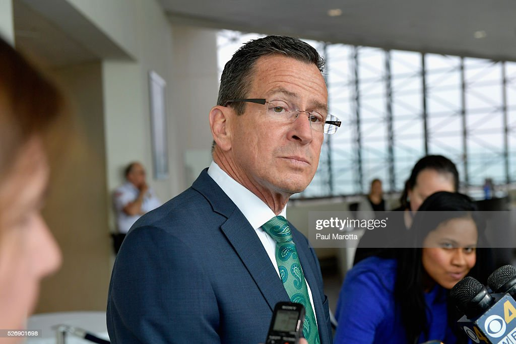 Connecticut Governor <a gi-track='captionPersonalityLinkClicked' href=/galleries/search?phrase=Dannel+Malloy&family=editorial&specificpeople=7234470 ng-click='$event.stopPropagation()'>Dannel Malloy</a> (D) speaks with reporters after receiving the 2016 John F. Kennedy Profile in Courage Award at The John F. Kennedy Presidential Library And Museum on May 1, 2016 in Boston, Massachusetts. In 2015 following the Paris terrorist attacks, Governor Malloy defended the U.S. resettlement of Syrian refugees and and personally welcomed a family of Syrian refugees to New Haven, Ct. after they had been turned away by the state of Indiana.