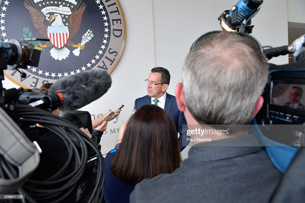 Connecticut Governor Dannel Malloy (D) speaks with reporters after receiving the 2016 John F. Kennedy Profile in Courage Award at The John F. Kennedy Presidential Library And Museum on May 1, 2016 in Boston, Massachusetts. In 2015 following the Paris terrorist attacks, Governor Malloy defended the U.S. resettlement of Syrian refugees and and personally welcomed a family of Syrian refugees to New Haven, Ct. after they had been turned away by the state of Indiana.
