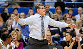 Connecticut head coach Geno Auriemma shouts instructions to his players during the second half against Duke at the XL Center in Hartford Conn on...