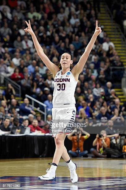 Connecticut Huskies forward Breanna Stewart calls a defense after making a shot against Texas during the first half of their Elite Eight game on...