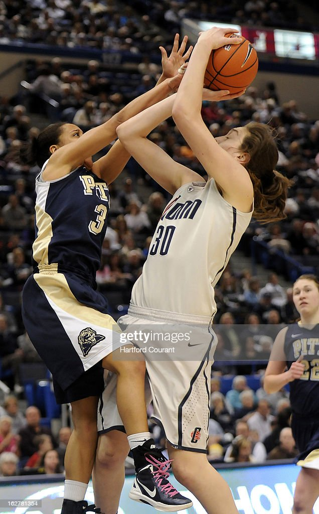 Connecticut Huskies forward Breanna Stewart (30) is fouled by Pittsburgh Panthers guard Brianna Kiesel (3) in the second hal at the XL Center in Hartford, Connecticut, Tuesday, February 26, 2013. UConn defeated Pittsburgh, 76-36.