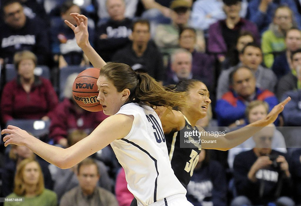 Connecticut Huskies forward Breanna Stewart (30) strips the ball from Vanderbilt Commodores guard Elan Brown (30) in the first half of the women's NCAA Tournament at Gampel Pavilion in Storrs, Connecticut, Monday, March 25, 2013.