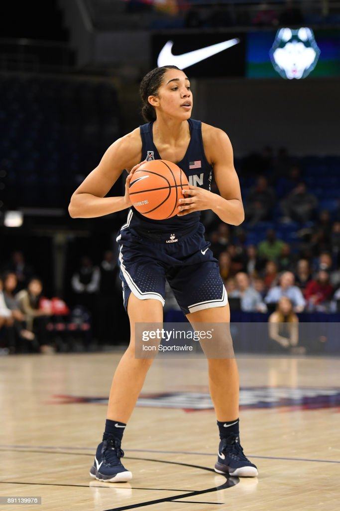 Connecticut Huskies forward Gabby Williams (15) controls the ball during a game between the Connecticut Huskies and the DePaul Blue Demons on December 8, 2017, at the Wintrust Arena in Chicago, IL. Connecticut won 101-69.