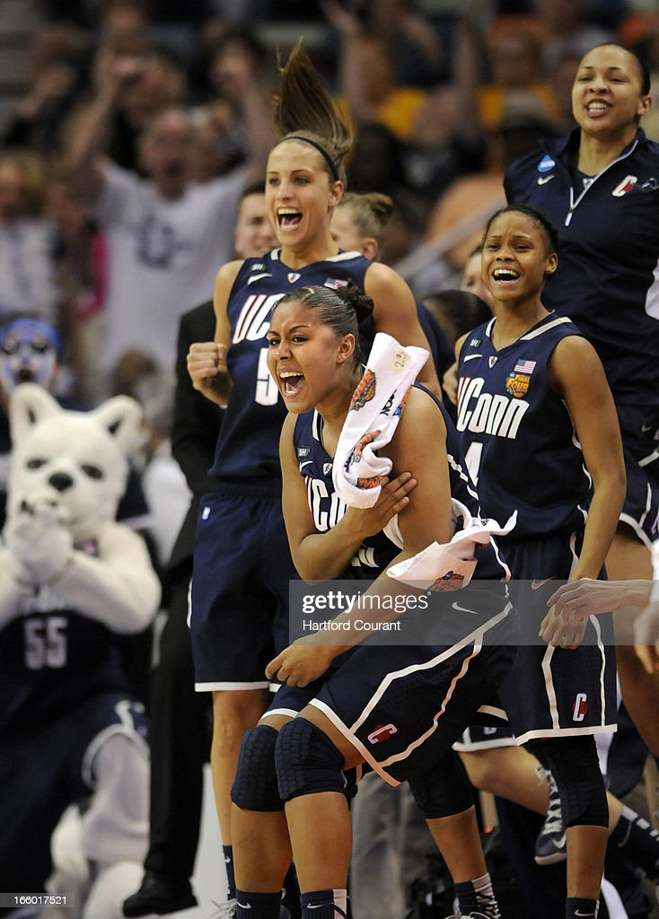 Connecticut Huskies forward Kaleena Mosqueda-Lewis (23) celebrates as UConn pulls away from Notre Dame late in the second half of the women's NCAA semifinal in New Orleans, Louisiana. The Connecticut Huskies defeated the Notre Dame Fighting Irish, 83-65.
