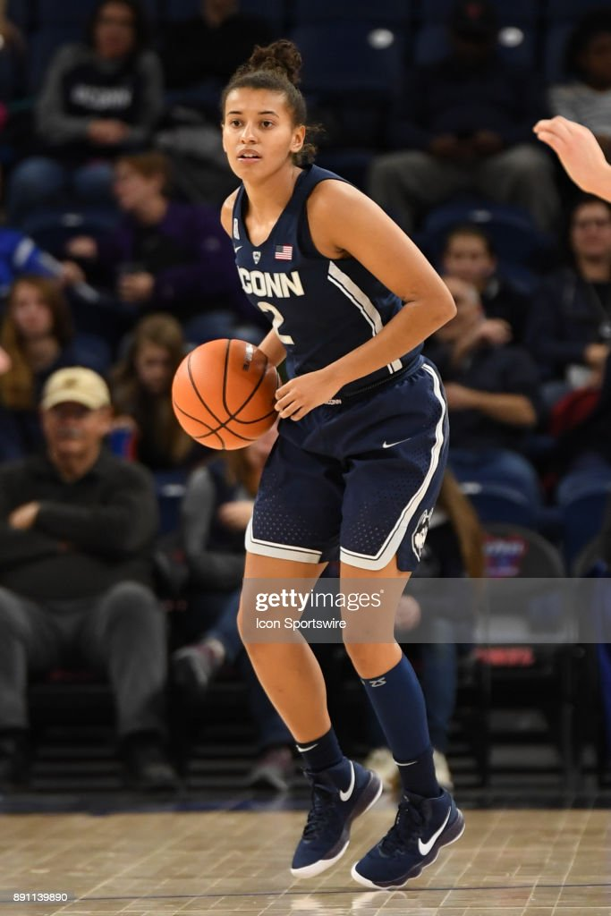 Connecticut Huskies guard Andra Espinoza-Hunter (2) controls the ball during a game between the Connecticut Huskies and the DePaul Blue Demons on December 8, 2017, at the Wintrust Arena in Chicago, IL. Connecticut won 101-69.