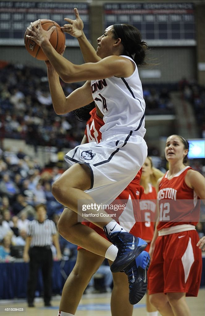 Connecticut Huskies guard Bria Hartley (14) drives to the hoop against Boston University at Gampel Pavilion in Storrs, Conn., Friday, Nov. 22, 2013. UConn defeated Boston U., 96-38.