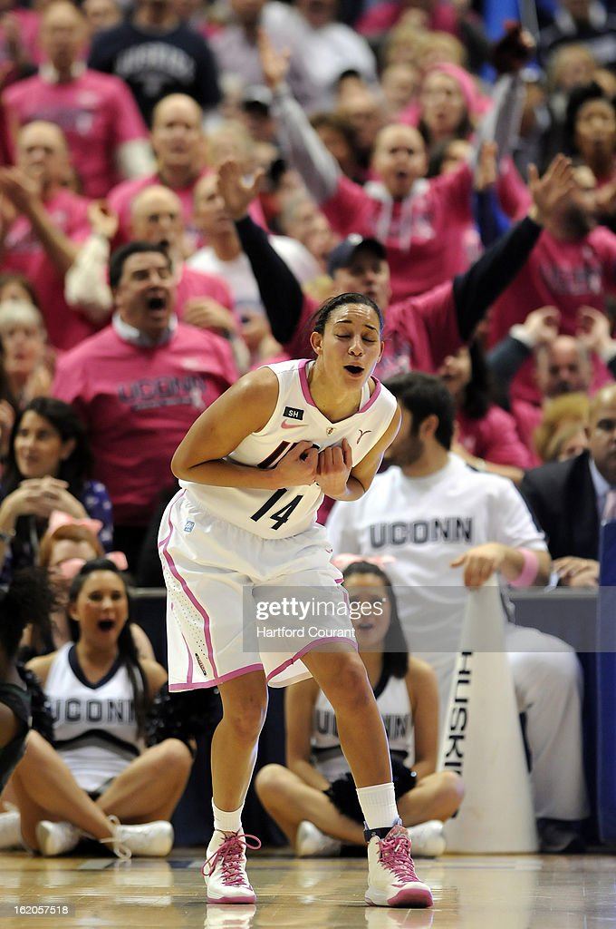 Connecticut Huskies guard Bria Hartley (14) reacts to a call during the game against top ranked Baylor Bears at the XL Center in Hartford, Connecticut, Monday, February 18, 2013. Baylor defeated UConn, 76-70.