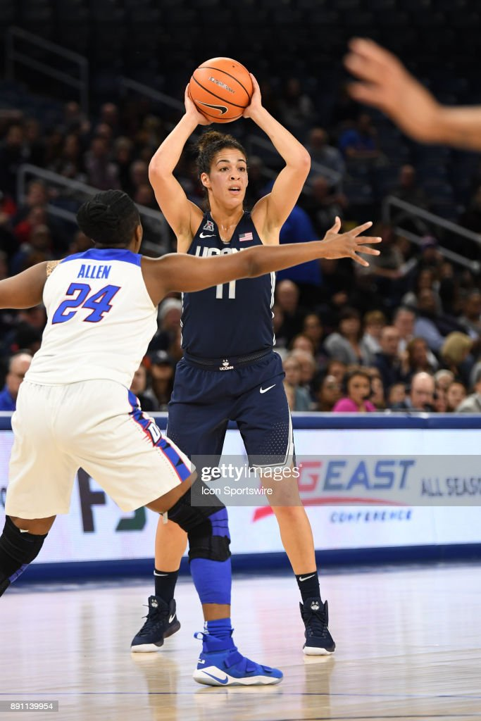 Connecticut Huskies guard Kia Nurse (11) controls the ball in the first half during a game between the Connecticut Huskies and the DePaul Blue Demons on December 8, 2017, at the Wintrust Arena in Chicago, IL.