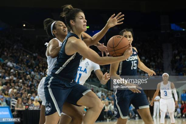 Connecticut Huskies guard Kia Nurse goes for a loose ball during the game between the UConn Huskies and the UCLA Bruins on November 21 at Pauley...