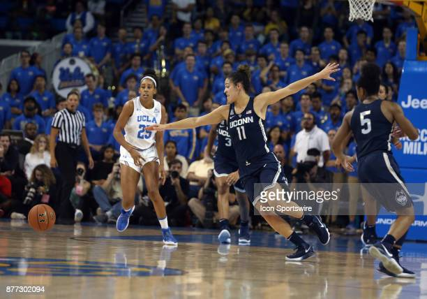 Connecticut Huskies guard Kia Nurse reaches for the ball during the game against the UCLA Bruins on November 21 at Pauley Pavilion in Los Angeles CA