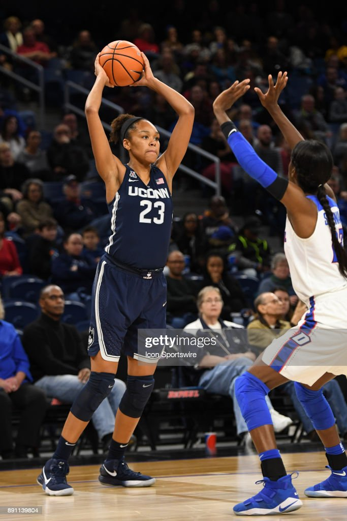 Connecticut Huskies guard/forward Azura Stevens (23) controls the ball during a game between the Connecticut Huskies and the DePaul Blue Demons on December 8, 2017, at the Wintrust Arena in Chicago, IL. Connecticut won 101-69.