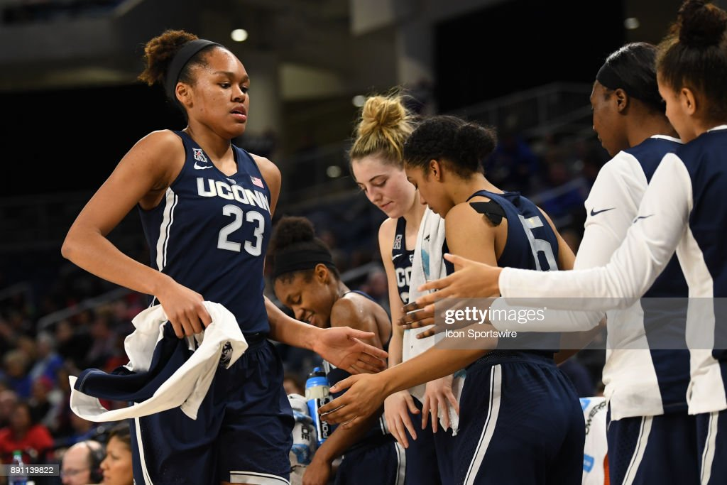 Connecticut Huskies guard/forward Azura Stevens (23) exits the court during a game between the Connecticut Huskies and the DePaul Blue Demons on December 8, 2017, at the Wintrust Arena in Chicago, IL. Connecticut won 101-69.