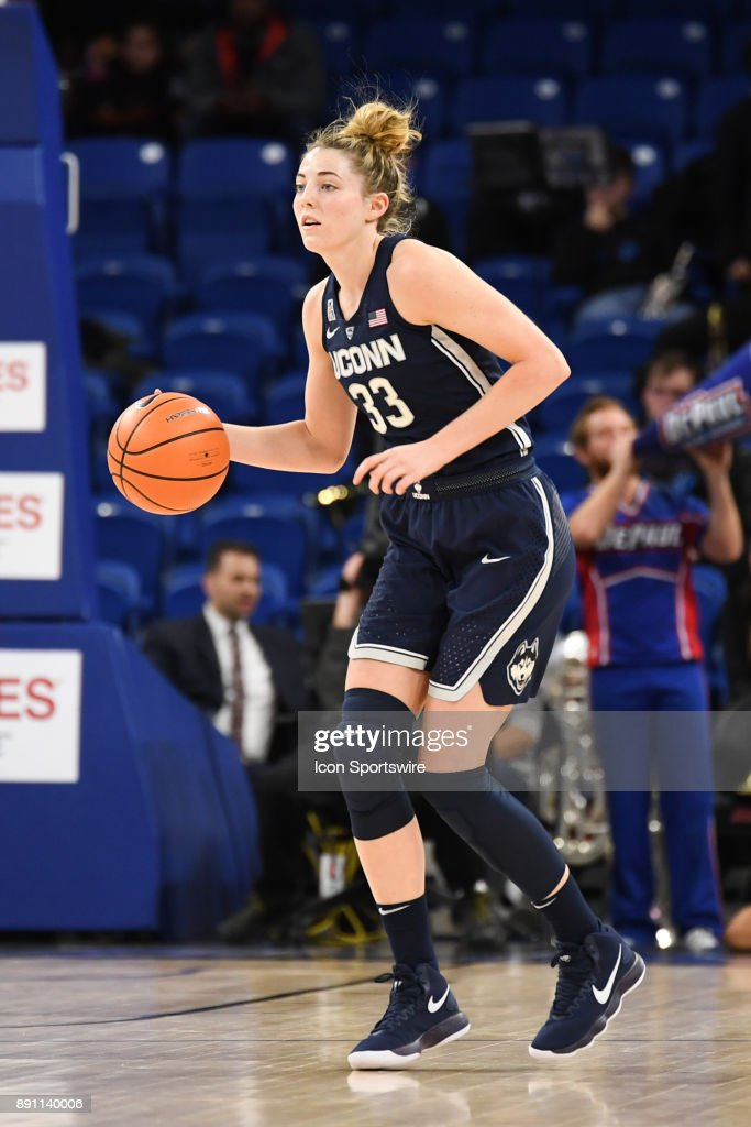 Connecticut Huskies guard/forward Katie Lou Samuelson (33) controls the ball during a game between the Connecticut Huskies and the DePaul Blue Demons on December 8, 2017, at the Wintrust Arena in Chicago, IL. Connecticut won 101-69.