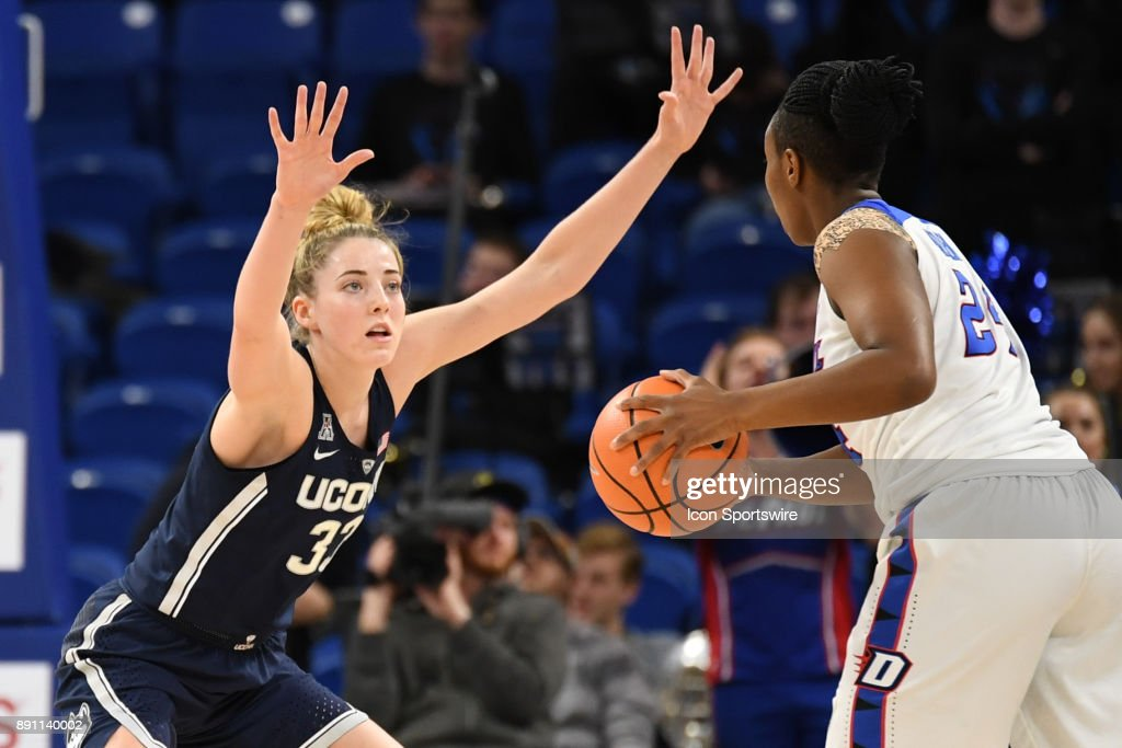 Connecticut Huskies guard/forward Katie Lou Samuelson (33) defends during a game between the Connecticut Huskies and the DePaul Blue Demons on December 8, 2017, at the Wintrust Arena in Chicago, IL. Connecticut won 101-69.