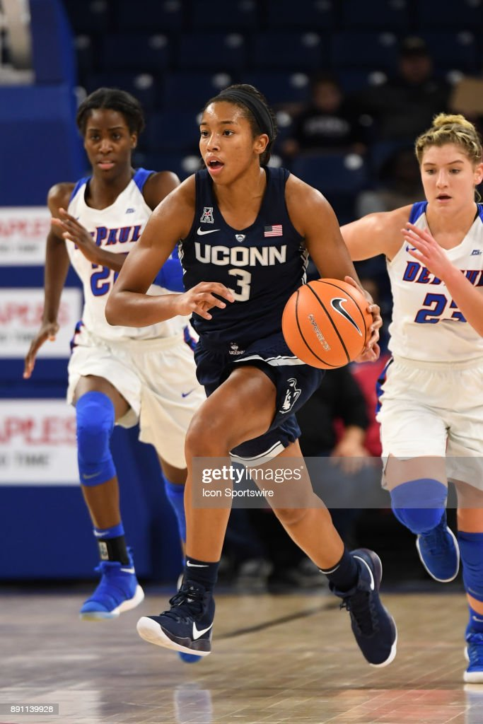 Connecticut Huskies guard/forward Megan Walker (3) controls the ball during a game between the Connecticut Huskies and the DePaul Blue Demons on December 8, 2017, at the Wintrust Arena in Chicago, IL. Connecticut won 101-69.